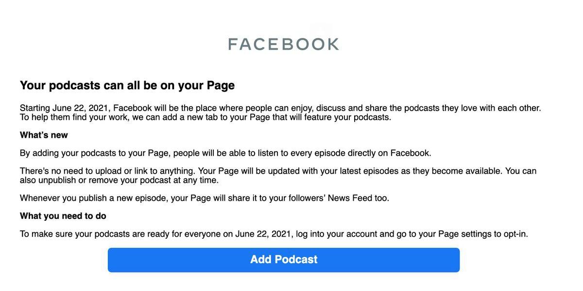 Forwarded from :Facebook запускает сервис для подкастов — начиная с 22 июня, владельцы страниц в социальной сети смогут указать адрес RSS-потока своего подкаста и аудитория сможет слушать их прямо в сети, а потом и делать клипы из эпизодов шоу.Пока письма
