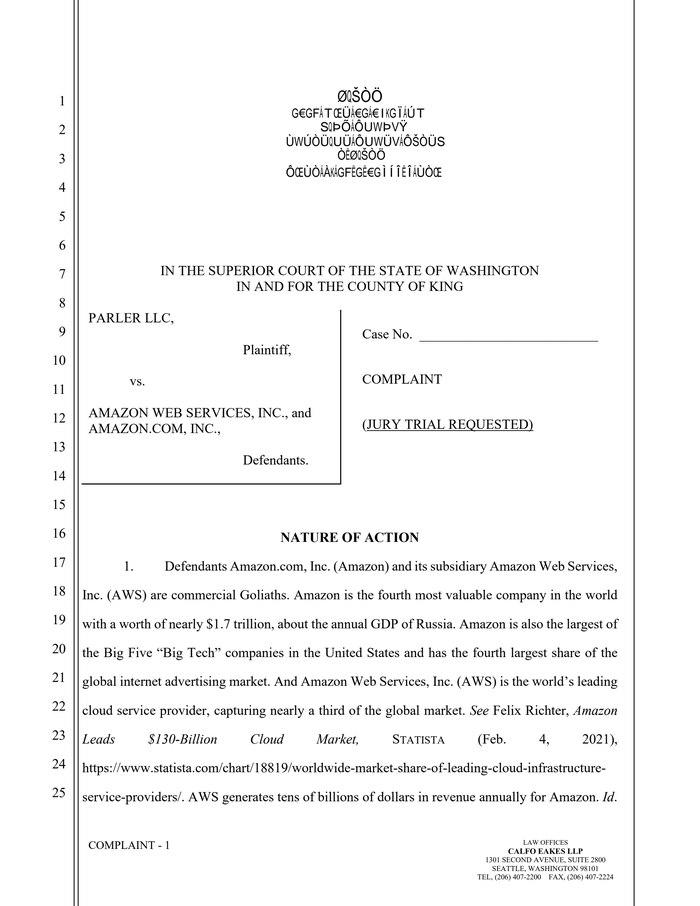 Forwarded from БлоGнот:Parler вчера отозвал свой иск против AWS, поданный в январе, но тут же подал новый — в верховный суд штата Вашингтон, где находится штаб-квартира Amazon. В новом иске соцсеть повторяет часть обвинений из только что отозванного в част