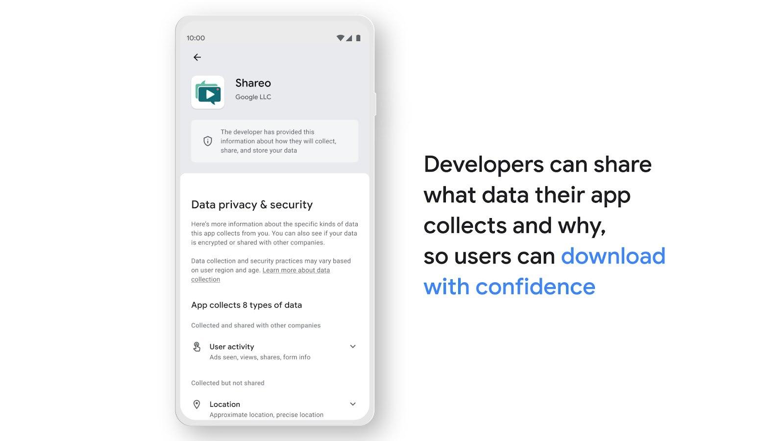 Гугл начал показывать в Гугл Плей информацию о том, какие данные собирает и как использует приложение. По сути это ровно то же решение, что раньше показали Эппл и уже тогда было понятно - остальным игрокам рынка придётся сделать так же.Интересно, что внешн