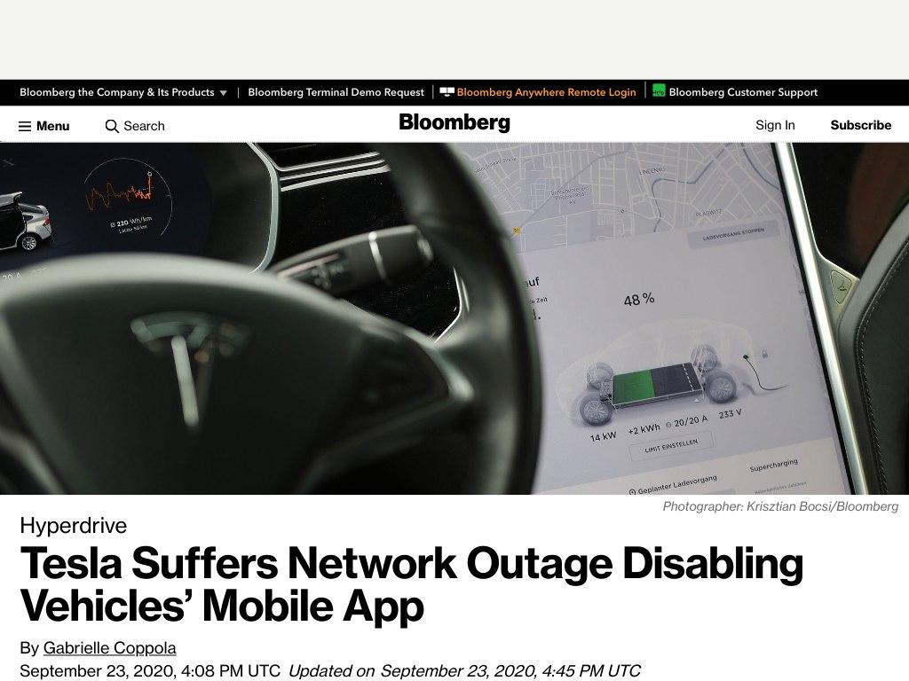 Что-то случилось с датацентром Tesla Inc, пользователи, которые вместо ключа привыкли пользоваться мобильным приложением остались без доступа к своим автомобилям - все лежит. Проблемы 21го века, без интернета не сесть в свою машину archive.is/TIJ7sTesla Su